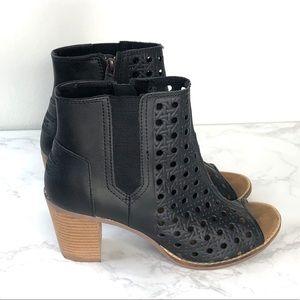 Toms Black Basketweave Leather Peeptoe Boot